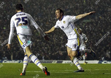 Luciano Becchio of Leeds United celebrates scoring the opening goal of the game