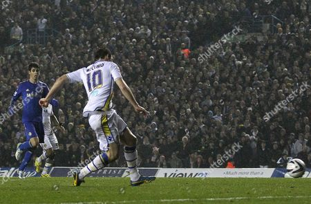 Luciano Becchio of Leeds United scores the opening goal of the game