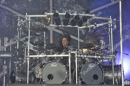 London United Kingdom - July 24: Mike Mangini Of Dream Theater Performing Live Onstage At High Voltage Festival On July 24 2011 In London