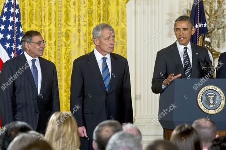 Leon E. Panetta, Chuck Hagel and President Barack Obama