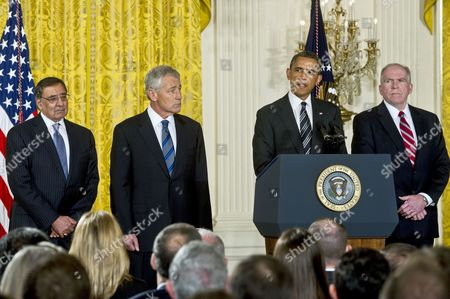 Leon E. Panetta, Chuck Hagel, President Barack Obama and John O. Brennan