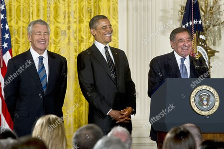 Chuck Hagel, President Barack Obama and Leon E. Panetta