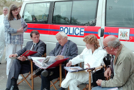 Stock Picture of Behind the scenes filming Kevin Whately, John Thaw, Clare Holman and director Herbert Wise