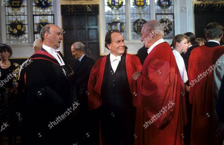 Alan David as Sir Watkin Davies, Robert Hardy as Andrew Baydon and Sir John Gielgud as Lord Hinksey