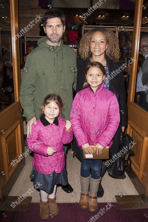Jason Milligan and Angela Griffin with daughters Melissa and Tallulah