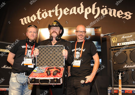 Stock Photo of Ulf Sandberg, Lemmy and Anders Nicklasson with Motorheadphones