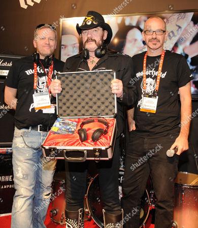Stock Image of Ulf Sandberg, Lemmy and Anders Nicklasson with Motorheadphones