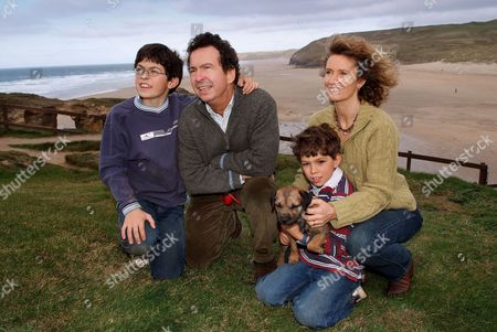 Stock Picture of Andy Secombe with his wife Caroline (Bliss), sons Matthew (glasses) and Charles