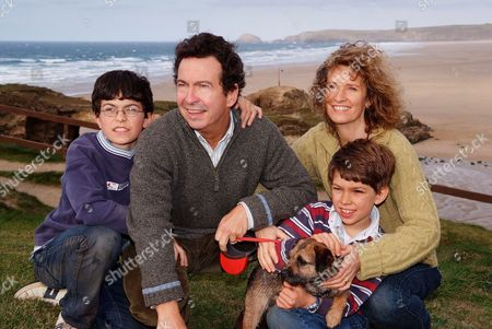 Editorial picture of Andy Secombe and family, Perranporth, Cornwall, Britain - 19 Jul 2007