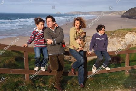 Andy Secombe with his wife Caroline (Bliss), sons Matthew (glasses) and Charles