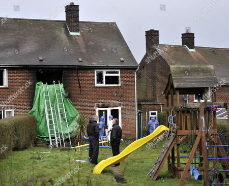 Editorial photo of Henson Family House Fire At Hulland Ward Derbyshire.-fire Investigation Staff Access The Scene Of The Fire That Killed Rocco Tommy Appolonia And Alisha Henson At The Family Home In Hulland Ward Derbyshire. Rachael Henson 44 Survived House Fire Her 4