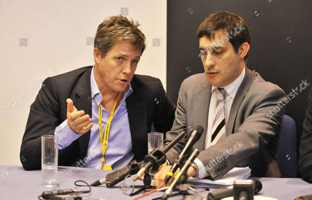 Actor Hugh Grant Attends The 'hacked Off' Campaign At A Press Conference With Lib Dem Dr Evan Harris (r). Liberal Democrat Annual Conference At The Birmingham International Conference Centre West Midlands.