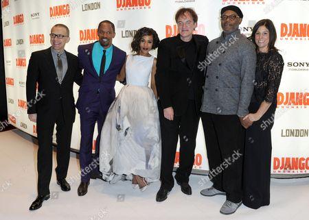 Christoph Waltz, Jamie Foxx, Kerry Washington, Quentin Tarantino, Samuel L Jackson and Pilar Savone