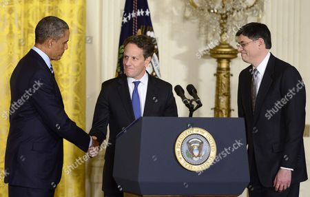 Stock Image of Barack Obama, Timothy Geithner and Jacob J Lew
