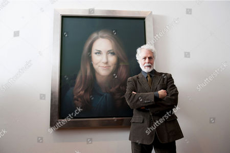 Artist Paul Emsley with his painted portrait of Catherine Duchess of Cambridge