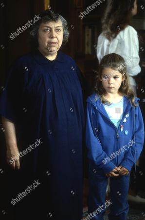 Patsy Byrne as Mrs Maltby and Rainbow Dench as Georgina Hanbury