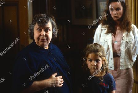 Patsy Byrne as Mrs Maltby, Rainbow Dench as Georgina Hanbury and Irina Brook as Michelle Reage