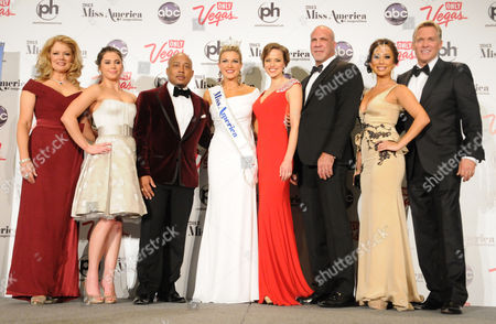 Stock Photo of Mary Hart, McKayla Maroney, Daymond John, Miss America 2013 Mallory Hagan, Katie Stam, Sam Champion, Cheryl Burke, Bradley Bayou