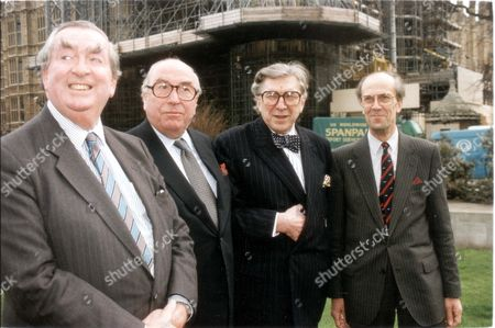 Stock Image of Left To Right: Dennis Healey Lord Roy Jenkins Sir Robin Day And Norman Tebbit Posing For Pictures For The Bbc Election Team.