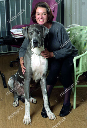 Verity Lambert Television Producer (died November 2007) Pictured At Home With Her Dog.