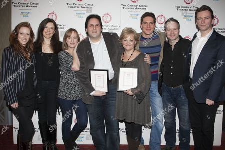 Clare Foster, Josefina Gabrielle, Jenna Russell, David Babani, Maria Friedman, Mark Umbers, Damian Humbley and Glyn Kerslake with The Peter Hepple Award for Best Musical, for Merrily We Roll Along