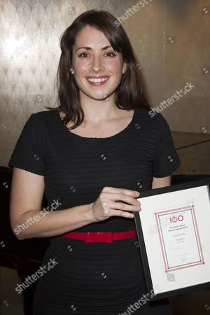 Lucy Prebble with the award for Best New Play, for The Effect