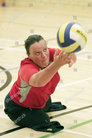 Editorial photo of Martine Wiltshire Who Was Involved In 7/7 In London And Lost Both Of Her Legs. She Is Now Taking Part In The Paraplegic Olympics In London Playing Volleyball. Pic Show Martine Playing Volleyball.