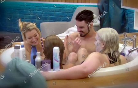 Gillian Taylforth, Tricia Penrose, Claire Richards and Rylan Clark in the bath