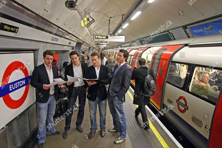 Editorial photo of Opera Group 'blake' Singers Jules Knight Steven Bowman Humphrey Abarneya Berney And Ollie Baines Rehearse At Euston Underground .... Pictured At Euston Northern Line.