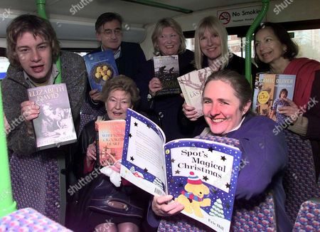 Editorial photo of Penguin Charters A Bus To Tour Authors Around Central London Jamie Oliver Antony Beever Gilda O'neill Helene Dunmore Claudia Roden Lyn Macdonald (sitting) And Artemis Cooper. It's Funny What You Hear On The Clapham Omnibus-especially When It's Ful
