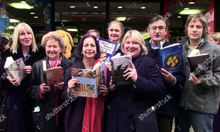 Editorial image of Penguin Charters A Bus To Tour Authors Around Central London Helene Dunmore Lyn Macdonald Claudia Roden Artemis Cooper Gilda O'neill Antony Beevor And Jamie Oliver. It's Funny What You Hear On The Clapham Omnibus-especially When It's Full Of Autho