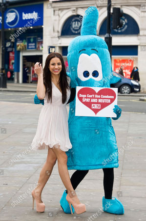 Lacey Banghard and PETA giant condoms