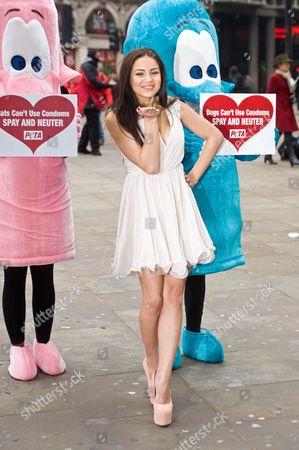 Lacey Banghard with PETA giant condom