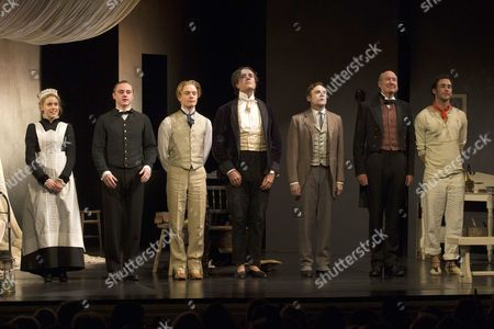 Stock Photo of Kirsty Oswald (Phoebe Cane), Ben Hardy (Arthur Wellesley), Freddie Fox (Lord Alfred Douglas), Rupert Everett (Oscar Wilde), Cal MacAninch (Robert Ross), Alister Cameron (Sandy Moffat) and Tom Colley (Galileo Masconi)