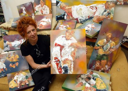 Editorial photo of Rugby World Cup Paintings Of England By Artist Sarah Sanderson.