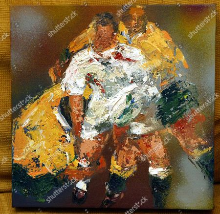 Rugby World Cup Painting Of Jonny Wilkinson By Artist Sarah Sanderson.