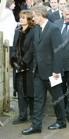 The Funeral Of Lord Roy Jenkins At St. Augustine's Church East Hendred Oxon. Prime Minister Tony Blair And Cherie Blair.