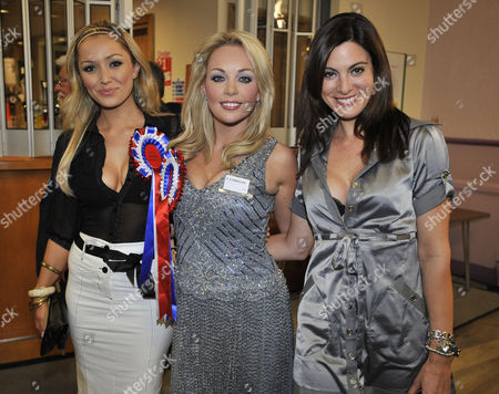 Stock Image of The Crewe And Nantwich By-election Count And Announcement At Nantwich Civic Hall Cheshire - The 'beauties For Britain Party' Candidate Gemma Garrett (centre) With Supporters Natalie Pike(l) And Catherine Mcqueen (r).