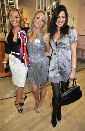 The Crewe And Nantwich By-election Count And Announcement At Nantwich Civic Hall Cheshire. The 'beauties For Britain Party' Candidate Gemma Garrett (c) With Supporters Natalie Pike (l) And Catherine Mcqueen (r).