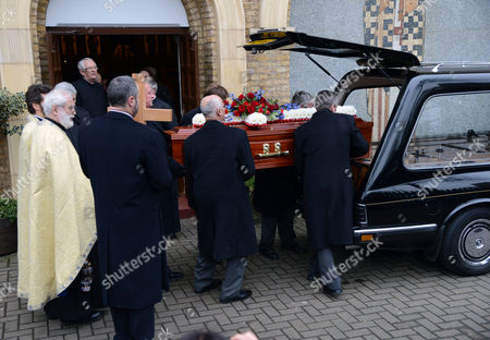 Coffin of Crown Princess Margarita of Baden is lowered into the hearse