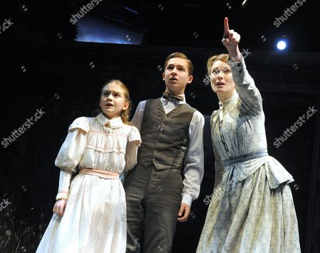 Emilia Jones as Flora, Laurence Belcher as Miles, Anna Madeley as the Governess