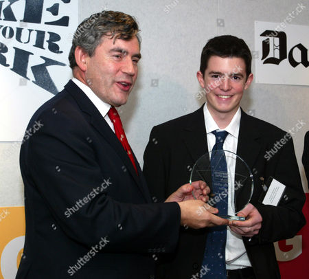 Daily Mail Enterprising Young Brits Awards Winner Fraser Doherty Who Received His Award From The Chancellor Of The Exchequer Gordon Brown At An Award Ceremony Held At One Aldwych Central London. Fraser Doherty 15 Founder Of Doherty's Preserves - Makes Jams And Marmalades At Home In Edinburgh Then Sells Them Door-to-door And Nationwide Via He Intenet. Fraser Has Sol More Than A1 000-worth Of Preserves. Winner Of The Daily Mail Teen Enterprising Young Brits Competition.