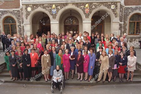 New Labour Prime Minister Tony Blair Welcomes His Female Mp's To Parliament. (1) Christine Mccafferty (2) Helen Liddell (3) Bridget Prentice (4) Alice Mahon (5) Judith Church (6) Jackie Lawrence (7) Joan Ruddock (8) Ann Clwyd (9) Claire Curtis-thomas (10) Estelle Morris (now Baroness Morris Of Yardley) (11) Ann Coffey (12) Lynda Clark (13) Diane Abbott (14) Maria Eagle (15) Hilary Armstrong (16) Joan Walley (17) Ruth Kelly (18) Fiona Mactaggart (19) Marjorie Mowlam (died August 2005) (20) Tessa Jowell (21) Janet Anderson (22) Helen Brinton (23) Jane Kennedy (24) Linda Gilroy (25) Debra Shipley (26) Valerie Davey (27) Betty Williams (28) Tess Kingham (29) Gwyneth Dunwoody (30) Llin Golding (31) Rosie Winterton (32) Ann Cryer (33) Ann Keen (34) Audrey Wise (35) Yvette Cooper (36) Diana Organ (37) Candy Atherton (38) Joyce Quin (39) Angela Eagle (40) Angela Smith (41) Eileen Gordon (42) Christine Butler (43) Oona King (44) Harriet Harman (54) Barbara Roche (46) Judy Mallaber (47) Siobhain Mcdonagh (48) Louise Ellman (49) Joan Humble (50) Laura Moffatt (51) Karen Buck (52) Sylvia Heal (53) Rosemary Mckenna (54) Maria Fyfe (55) Irene Adams (now Baroness Adams Of Craigielea) (56) Jean Corston (now Baroness Corston Of St George In The County And City Of Bristol) (57) Melanie Johnson (58) Joan Ryan (59) Julia Drown (60) Phyllis Starkey (61) Helen Jones (62) Helen Southworth (63) Geraldine Smith (64) Hazel Blears (65) Fiona Jones (66) Margaret Moran (67) Christine Russell (68) Janet Dean (69) Kali Mountford (70) Dari Taylor (71) Anne Mcguire (72) Jenny Jones (73) Rachel Squire (died January 2006) (74) Barbara Follett (75) Dawn Primarolo (76) Patricia Hewitt (77) Caroline Flint (78) Jacqui Smith (79) Gisela Stuart (80) Jane Griffiths (81) Anne Campbell (82) Linda Perham (83) Margaret Beckett (84) Ann Taylor (85) Charlotte Atkins (86) Sally Keeble (87) Gillian Merron (88) Liz Blackman (89) Shona Mcisaac (90) Beverley Hughes (91) Helen Jackson (92) Claire Ward (93) Sanda Osbo.