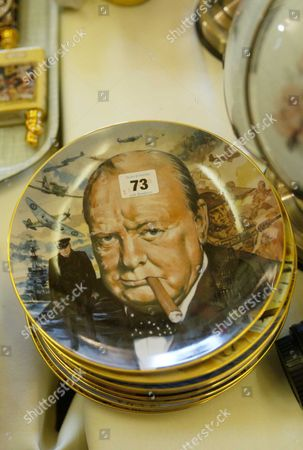Sir Winston Churchill Plate At The Auction Of Property Owned By John Entwistle The Former Bass Guitarist With 'the Who' At Frogmill Hotel Andoversford Gloucestershire.