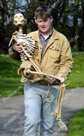 Miles Hobbs From Norwich Norfolk With His Skeleton Bought From The Auction Of Property Owned By John Entwistle The Former Bass Guitarist With 'the Who' At Frogmill Hotel Andoversford Gloucestershire.