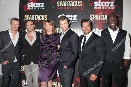 Stock Image of Todd Lasance, Dustin Clare, Liam McIntyre, Lucy Lawless and Manu Bennet, Peter Mensah
