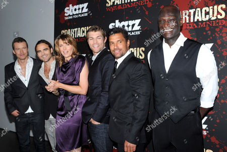 Todd Lasance, Dustin Clare, Lucy Lawless, Liam McIntyre, Manu Bennett and Peter Mensah