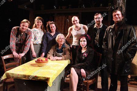 Sofi Oksanen with the cast of 'Purge' - back row from left: Kris Gumerus (Hans Pekk), Rebecca Todd (Young Aliide Truu), Elicia Daly (Zara), Benjamin Way (Pasha), Johnny Vivash (Martin Truu), Liam Thomas (Lavrenti), sitting left Ilona Linthwaite (Aliide Truu) and Sofi Oksanen