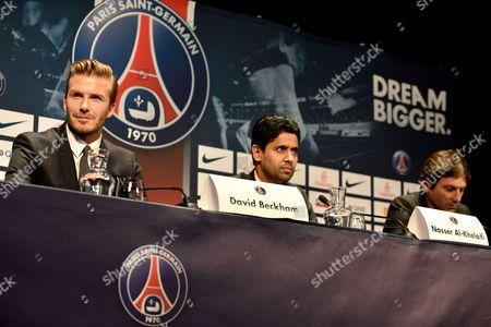 David Beckham, Club President Nasser al-Khelaifi and Sporting Director Leonardo Araujo