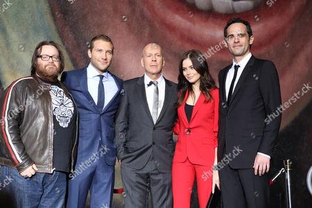 John Moore, Jai Courtney, Bruce Willis, Yuliya Snigir and Rasha Bukvic